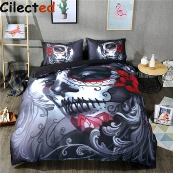 Cool Cilected Black Skull Bedding Set Halloween Style Bed Sheet Queen King Double Bed Linen Cotton Blend Flower Skull Duvet Cover SetAT_93_12