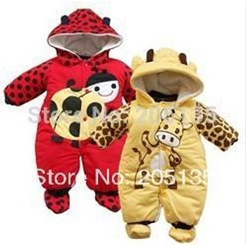 2016 new Cute baby Romper Newborn winter warm cotton rompers cartoon ladybug cows clothing toddles kids jumpsuit