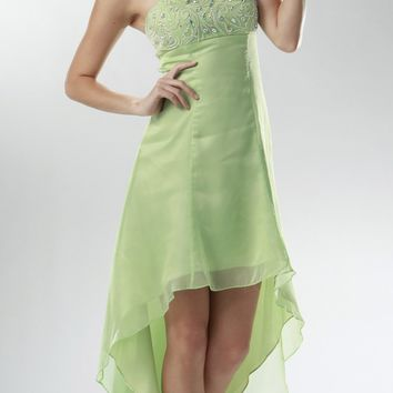 ON SPECIAL LIMITED STOCK - 2 Tone Chiffon Mint Green High Low Formal Dress Strapless Beaded Top