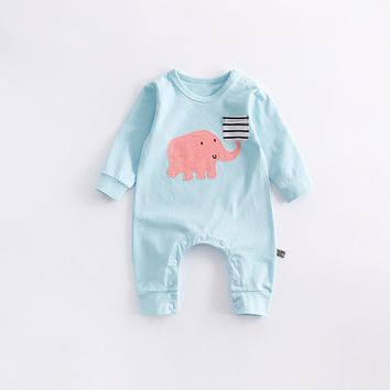 2018 New Spring Autumn Baby Clothes Cute Cartoon Animal Elephant Baby Jumpsuit Soft Thick Baby Rompers Outfits Toddler Clothing