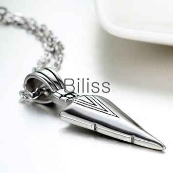 SHIPS FROM USA 2017 New Vintage Men Necklaces Stainless Steel Arrowhead Pendant Silver Necklace With 22 inch Chain mens jewellery colliers