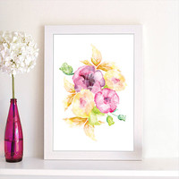 Abstract Watercolor Flower Painting Art Poster Print Spring Season Home Decor Office Decor Kitchen Decor Wall Art