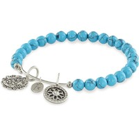 Chrysalis, Mother Doll silver plated expandable bracelet with turquoise beads