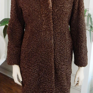 Fabulous Chocolate Brown Persian Broadtail Lamb Fur  Coat Mink Collar Curly Lamb Fur Coat Mink Collar