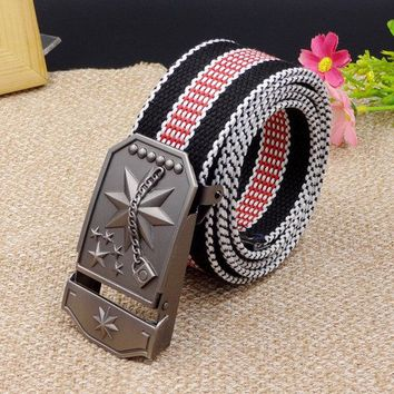 Men Tactical Canvas Smooth Buckle Belt Casual Colorful Durable Rectangular Buckle Waistband