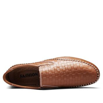 Men Woven Pattern Stitching Slip On Leather Loafers Flat Casual Shoes