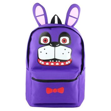 Anime  at  High Quality Canvas Solid Color Laptop Backpack Freddy Fazbear Double-Shoulder School Bag