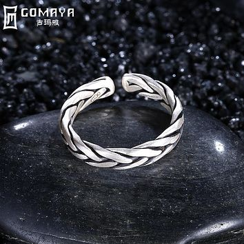 GOMAYA Vintage Punk Ring 925 Sterling Silver Retro Antique Fine Jewelry for Women Finger Rings Weave Rock Bijoux Classic Anel
