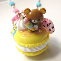 Kawaii Girly Harajuku Inspired .Dessert pendant.  Lemon Macaroon with Whipped cream, ribbon bow and bear with ice cream pendant Necklace