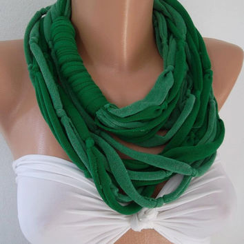 Infinity Scarf - Loop Scarf - Circle Scarf  - Soft - Light Green - Dark Green - It made with good quality  fabric