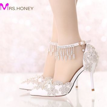 Summer Sandals White Pointed Toe Bridal Wedding Party Shoes