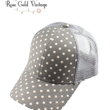 CC Polka Dot Baseball Hat - Grey