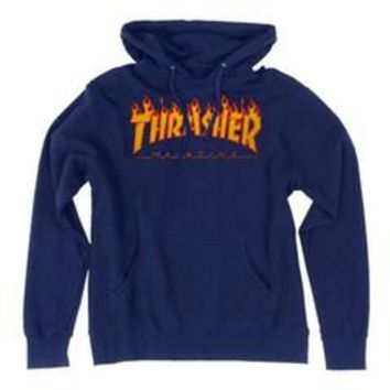 Thrasher Flames Pullover Hoody Navy Large - Sears