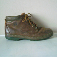 Vintage 90s Brown Leather Ankle Boots Grunge Size 8