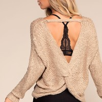 Here And Now Twist-Back Sweater - Taupe