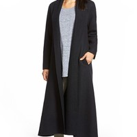 Women's Eileen Fisher Boiled Wool Long Shawl Collar Coat,