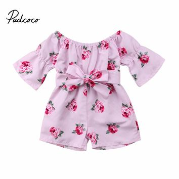 Floral Toddler Kids Baby Girl Off shoulder Bow Romper Jumpsuit Outfits Princess Summer Flower Clothes 6M-5Y