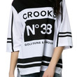 The Ladies Knit Hockey Jersey in White and Black