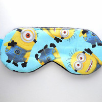 Minions Sleep Mask, Girls Eye Mask, Woman Pre-teen Present, Eyeshade, Pre-teen Gift, Soft Fleece Back, Blindfold, Night Nap Satin Cotton