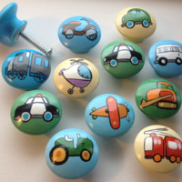 Hand Painted Patchwork Transportation Drawer Pulls / Dresser Knobs