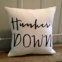 "Burlap Pillow - ""Hunker Down"" - UGA football, Bulldawgs, University of Georgia - Made to Order, Graduation Gift"