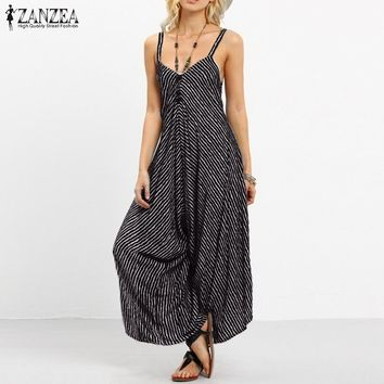 ZANZEA Brand Rompers Womens Jumpsuit Summer Fashion Striped Long Playsuits Casual Loose Sexy Backless Plus Size Overalls