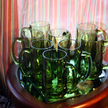 Set of 8, Vintage Indiana Green Glass Handle Mugs, Thumbprint Pattern, Sturdy Beer Stein