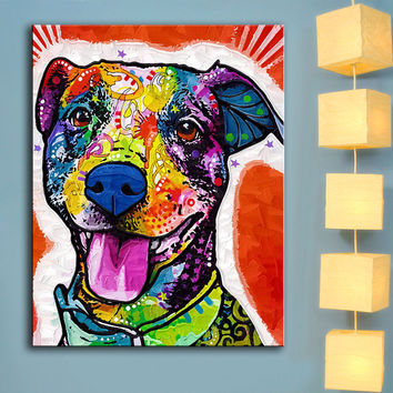 MODERN ABSTRACT LARGE WALL ART OIL PAINTING PRINT ON CANVAS Pit Bull Splash Art Wall Painting