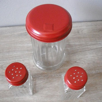 Upcycled French country RED salt pepper and Sugar shaker set ... 3 pcs