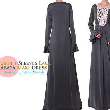FREE SHIPPING! Grey Trumpet Sleeves Lace Jersey Abaya Maxi Dress - Size M/L or 1X/2X (6058/2892)