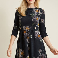 Coach Tour A-Line Dress in Forest Floral - 3/4 Sleeves