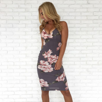 Floral Fave Bodycon Midi Dress