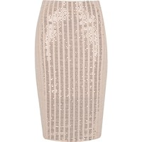 Light pink sparkly panel pencil skirt