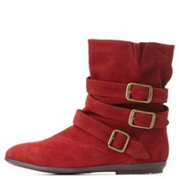 Qupid Triple-Belted Slouchy Ankle Boots by Charlotte Russe