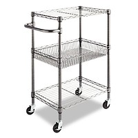 3-Tier Metal Kitchen Cart with Adjustable Shelves & Casters