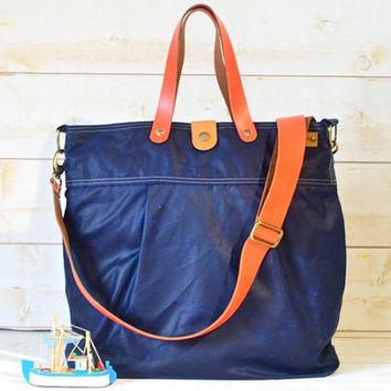 Unisex WAXED CANVAS Messenger bag /  Diaper bag / TOTE /Dark Navy/ Leather straps / Men messenger / Travel bag/Diaper bag/ Vogue k1