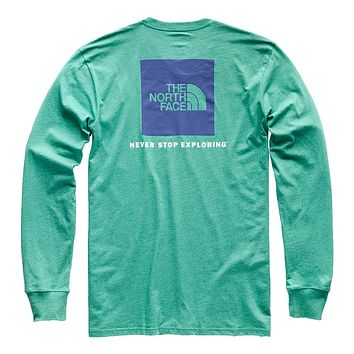 Men's Long Sleeve Red Box Tee in Porcelain Green Heather & Deep Blue by The North Face
