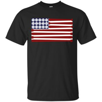 Baseball American Flag T-Shirt for July 4th Independence USA T-shirt