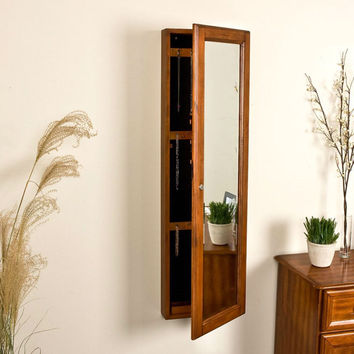 Wall Mount Jewelry Armoire Cabinet & Mirror In Oak Wood Finish