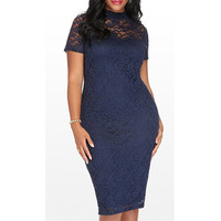 Sexy Stand-Up Collar Short Sleeve Hollow Out Plus Size Women'S Dress Plus Size LAVELIQ
