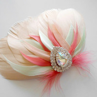 Prom Hairpiece, Feather Fascinator, Wedding Hairpiece, Champagne, Mint, Coral, Peach, Vintage Wedding