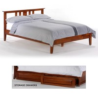 Thyme Wood Platform Bed in Cherry by Night & Day Furniture | Humble Abode