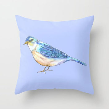Bluebird Pillow, Throw Pillow, periwinkle decorative, cute cushion, happiness