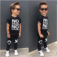 US Toddler Kids Baby Boy Outfits Clothes No pain no gain T-shirt Pants 2pcs Set