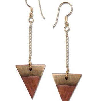 NEW! Trailing Triangle Wood Earrings