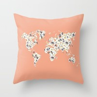 Floral world map Throw Pillow by Hedehede