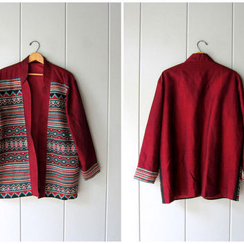 Vintage Ethnic Jacket Oversized Embroidered Ikat Open Coat Dark Red Colorful Tribal Bohemian Fall Jacket Slouchy Festival Women Large XL