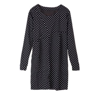 Long Sleeves Scoop Neck Ruffles High Waistline Polka Dot Pattern Plus Size Asian Maternity Women's Dress