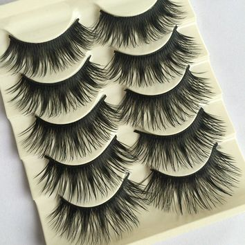 5Pairs New Makeup Beauty Natural Long Black Fake Eye Lashes Handmade Thick False Eyelashes 007