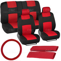 Full Car Seat Covers Red Black w/ Split Bench Option 11pc Set